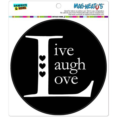 Live Laugh Love Black Automotive Car Refrigerator Locker Vinyl Magnet (Car Magnets Cheap)