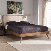 Baxton Studio Bella Mid-Century Modern Light Beige Fabric and Walnut Brown Finished Wood Queen Size Platform Bed
