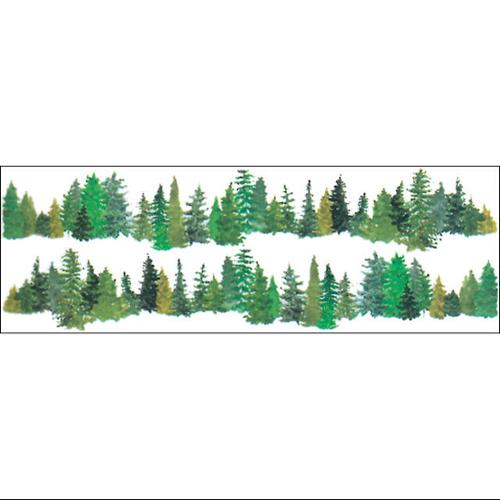 "Horizon Border Stickers 4""X12"" Sheet-Evergreen Trees"