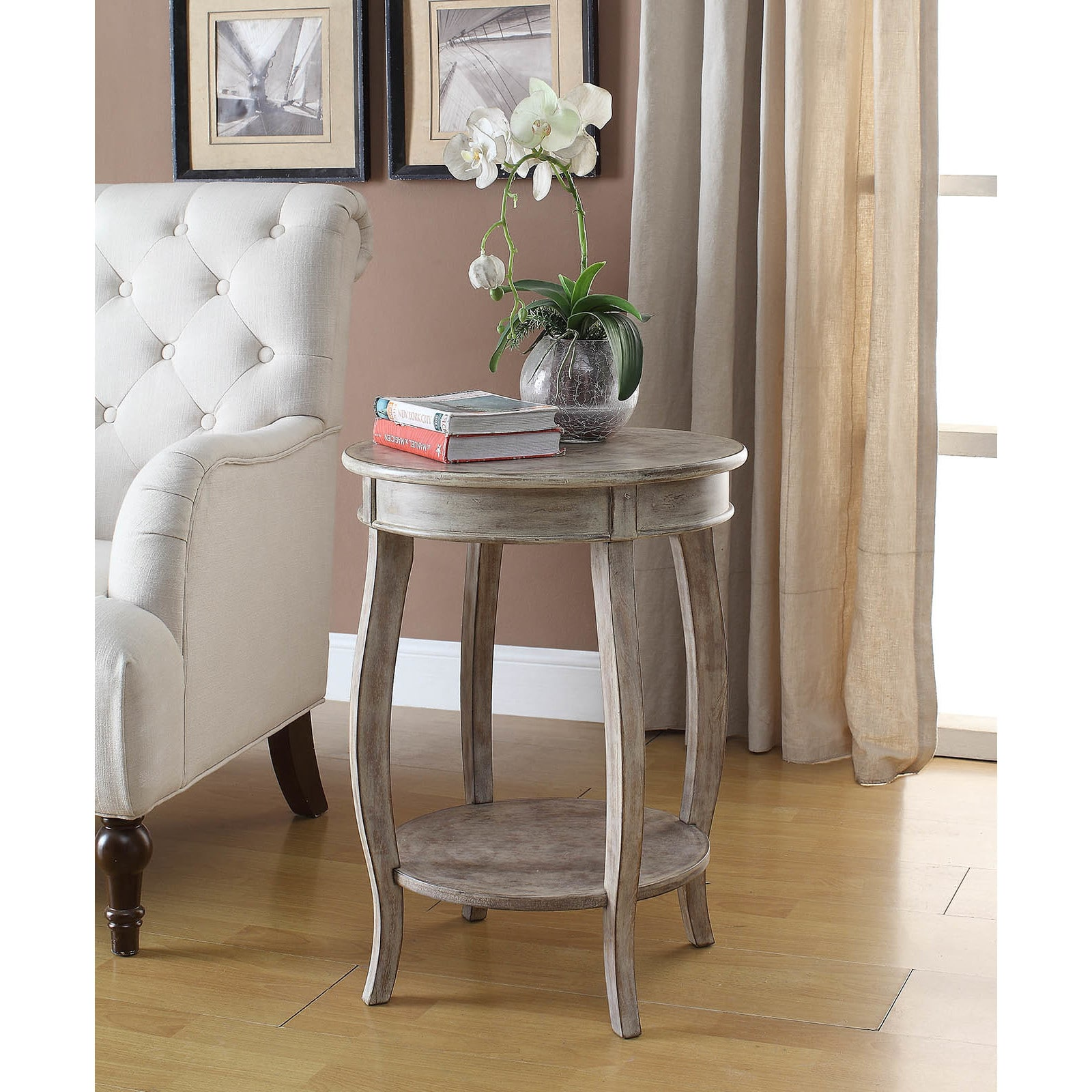 Yvonne Round Table In White Washed Lime Walmart Com Walmart Com