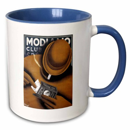 3dRose Vintage Modiano Club Cigarette Papers Advertising Poster - Two Tone Blue Mug, (Advertising Cigarette)