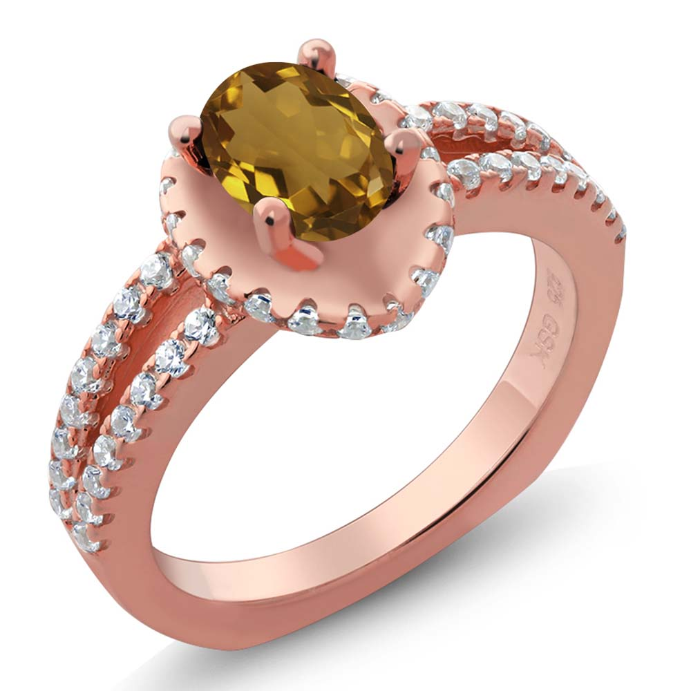1.21 Ct Oval Champagne Quartz 18K Rose Gold Plated Silver Ring