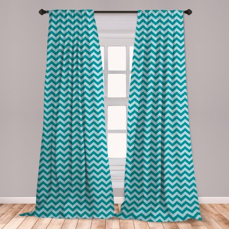 Chevron Curtains 2 Panels Set, Zigzags in Sea Colors Ocean Waves Nautical Theme Sailboat Design Sea Breeze, Window Drapes for Living Room Bedroom, Teal Pale Blue, by Ambesonne ()