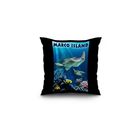 Marco Island Sea Turtles Swimming Lantern Press Poster 16x16 Spun Poly