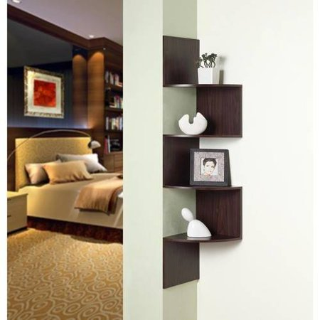 4D Concepts Wall-Mounted Corner Storage, Chocolate