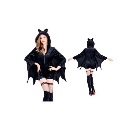Women's Cozy Vampire Bat Romper Costume