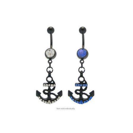Anchor Belly Ring Ring Black Titanium Navel Ring With Cz Gems 14g