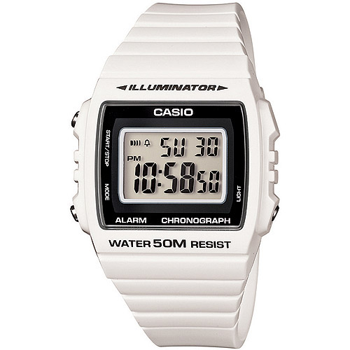 Casio W215H-7A Classic Square Digital 50m Water Resistant White Resin Band/black Neutral Face