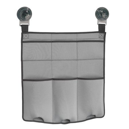 InterDesign Power Lock Ultra Neoprene Fabric Shower Caddy for Shampoo, Conditioner, Soap - Light Gray/Charcoal ()