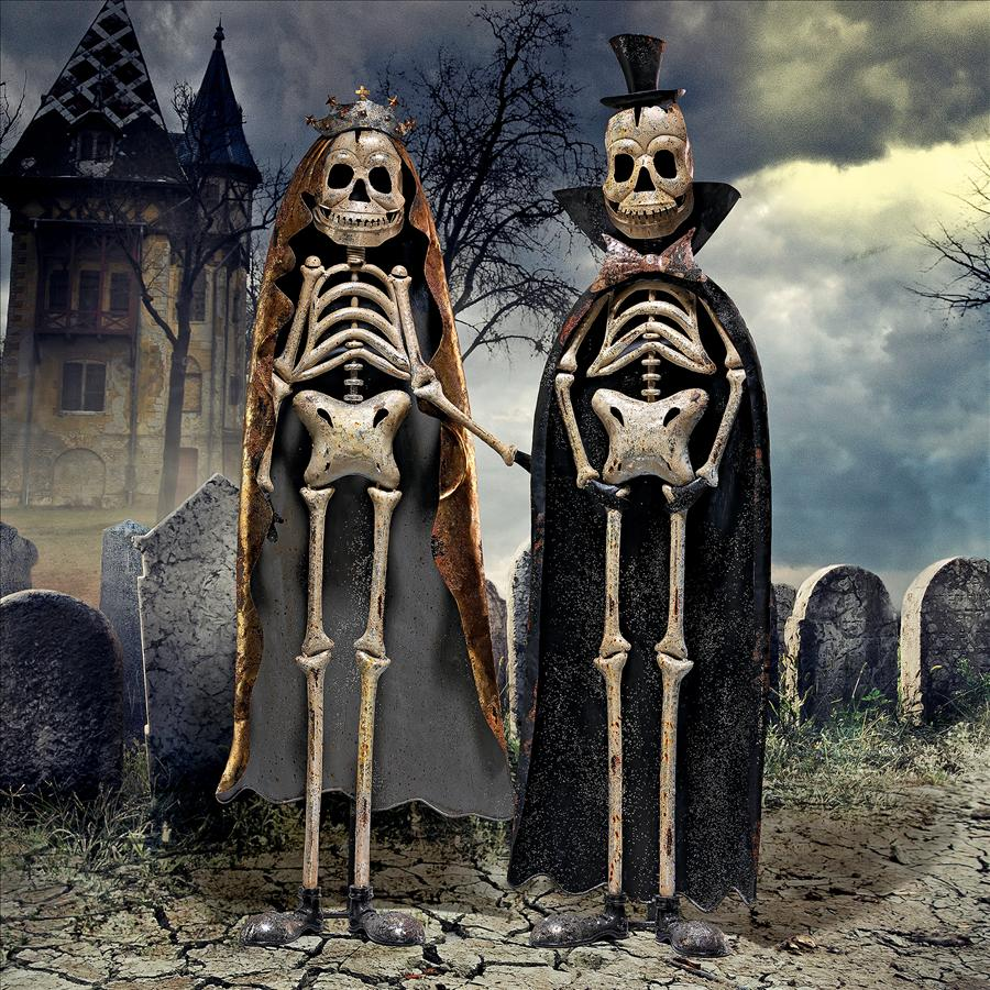 Day of the Dead King & Queen Metal Skeleton Statues