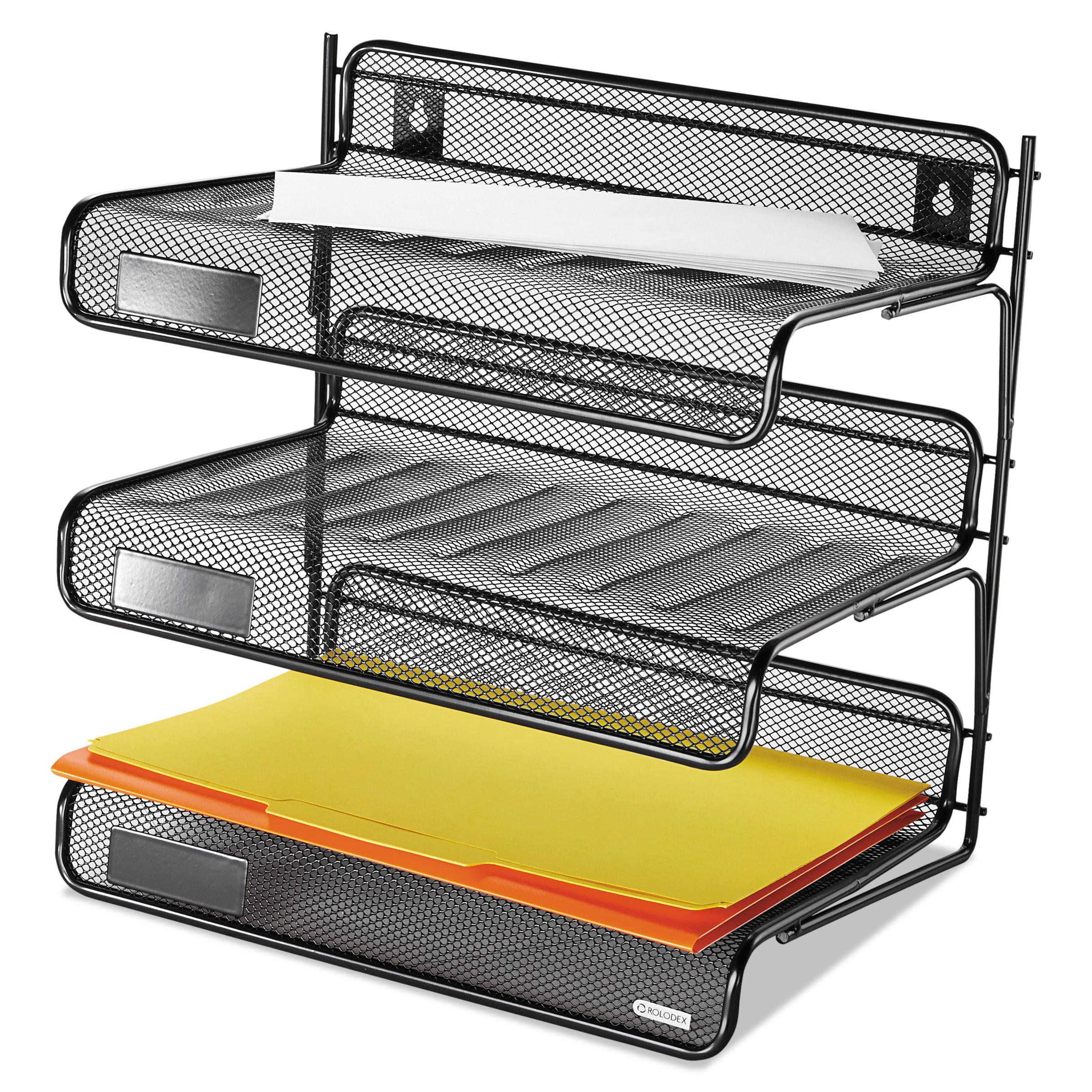 Rolodex Mesh Three Tier Letter Size Desk Shelf 10 X 7 9 3 8 Black Rol22341 Com