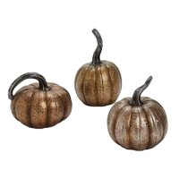 Set of 3 Thanksgiving Autumn Harvest Bronze Finish Pumpkin Table Top Decorations