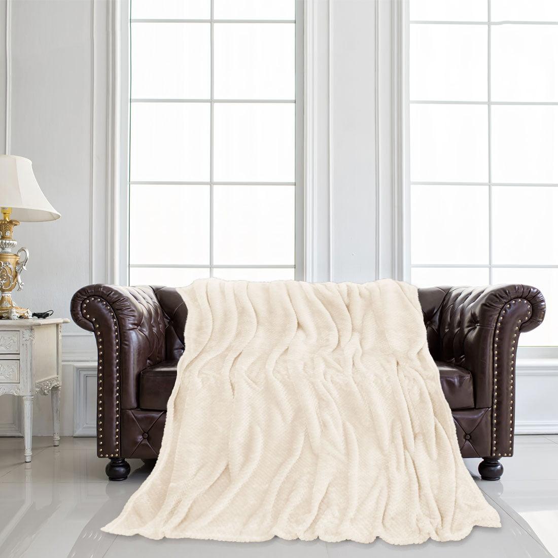 """Bed Blankets Mesh Soft Plush Fleece Blanket for Full Camel Color 70"""" x 78"""""""