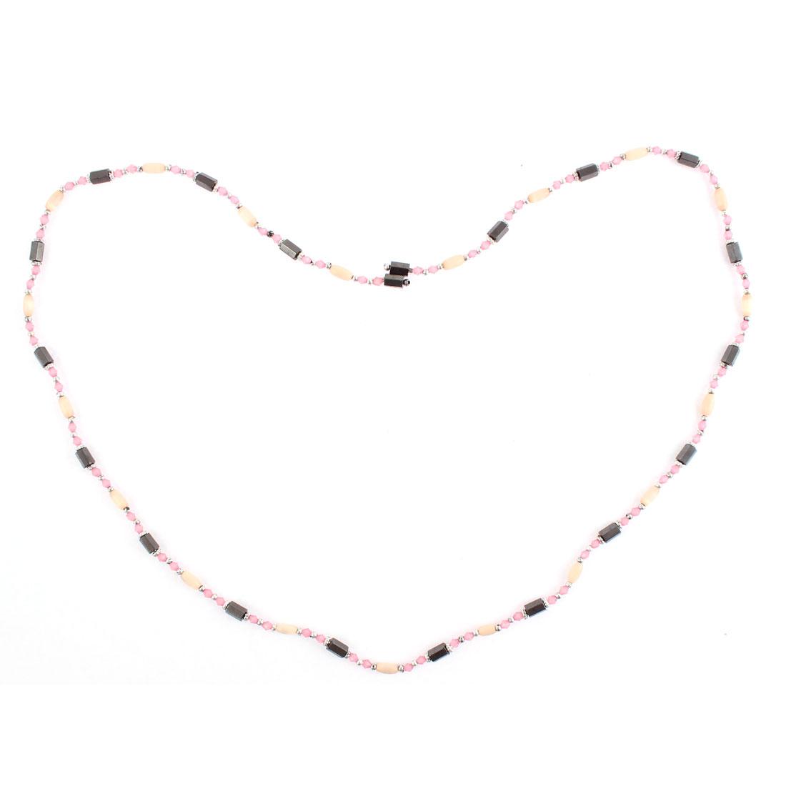 Lady Magnetic Hematite Bead Magnet Clasp Bracelet Choker Necklace Pink Black - image 2 de 3
