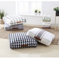 "Better Homes & Gardens Yarn Dyed Floor Cushion, 24""x24""x5"", White and Black Windowpane Plaid"