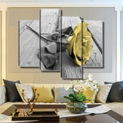 4Pcs Yellow Rose Canvas Wall Art Painting Picture Wall Decor Hanging Living Room Dining Room Bedroom Home Decor