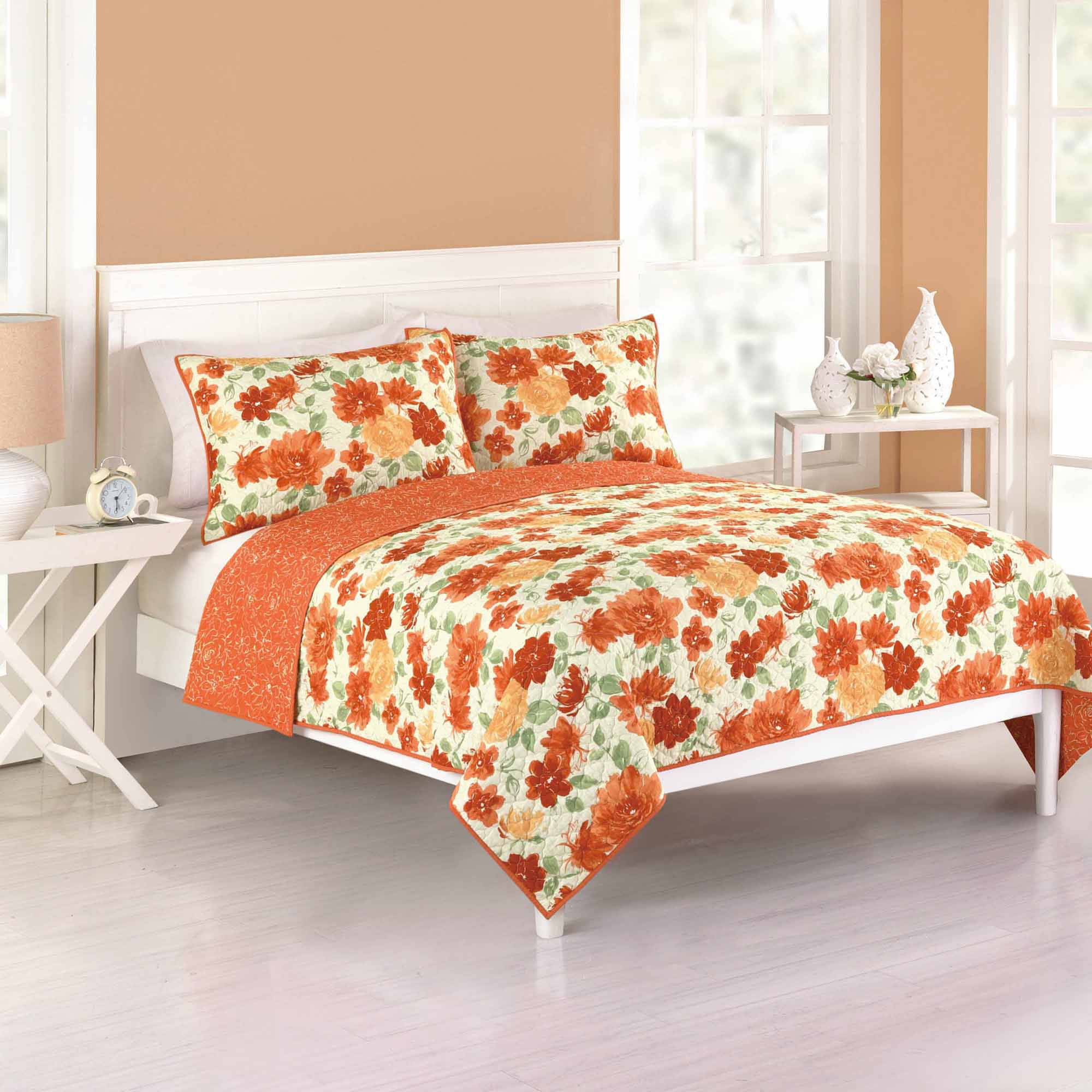Better Homes and Gardens Watercolor Floral Reversible Bedding Quilt