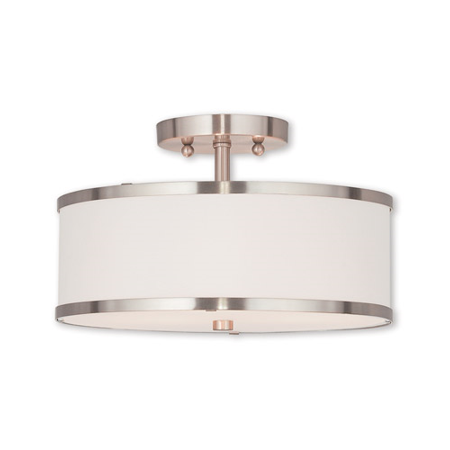 Semi Flush Mounts 2 Light With Steel Hand Crafted Off-White Fabric Hardback Brushed Nickel size 13 in 120 Watts - World of - Hand Engraved Semi Mount