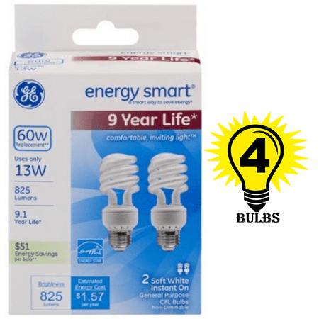GE Lighting 74199 Energy Smart Spiral CFL 13-Watt  T3, 4 Bulbs