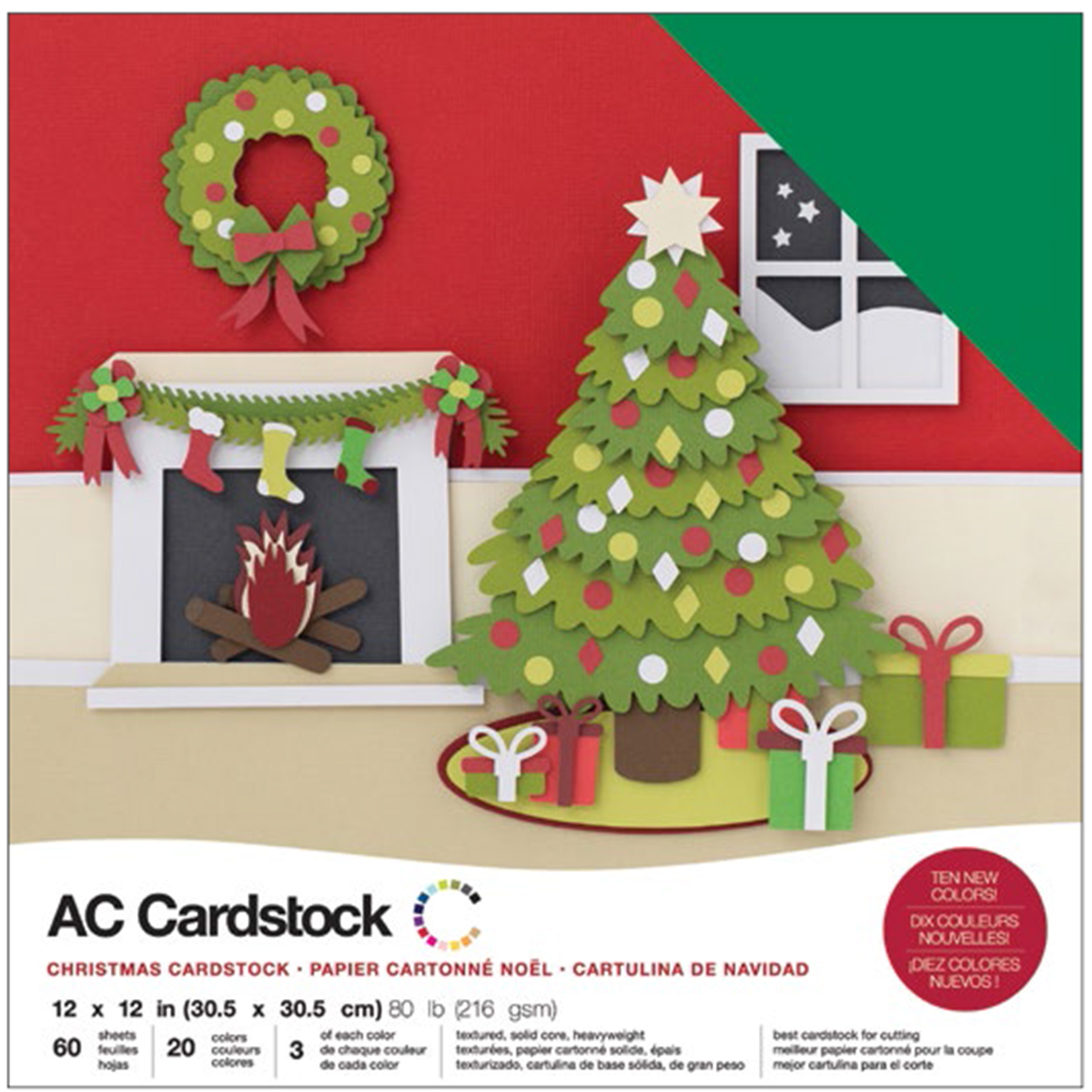 """American Crafts Variety Cardstock Pack 12"""" x 12"""" 60/Pkg - Christmas"""