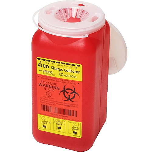 Diabetic Supplies Sharp Collector 2-Piece, Red Base, Vertical Entry Lid, Case of 12