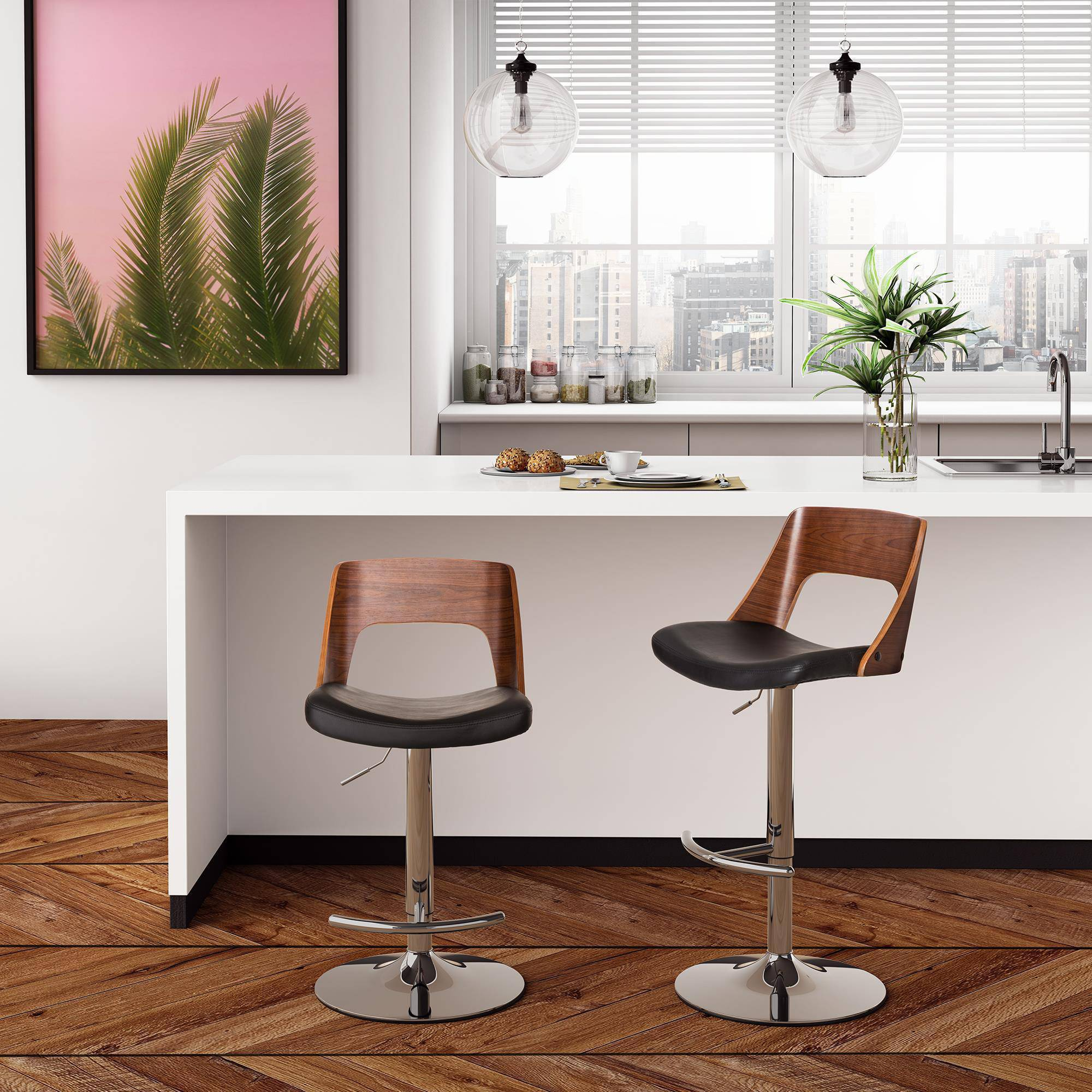 Dorel Home Products Baden Swivel Barstool, Faux Leather/Walnut, Multiple Colors