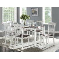 ACME Green Leigh 7-Piece Pack Dining Set in White and Walnut
