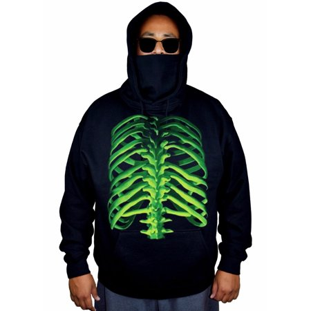 Men's Green Glowing Skeleton Halloween Black Mask Hoodie Sweater Small Black