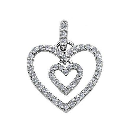 Precious Stars Jewelry 14k White Gold Cubic Zirconia Dangling Double Heart Pendant ()