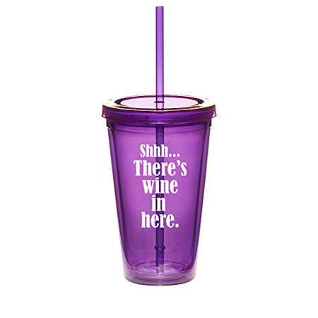 16oz Double Wall Acrylic Tumbler Cup With Straw Shhh There