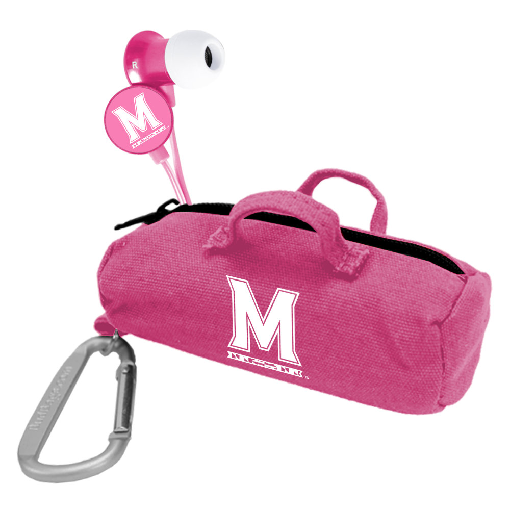 Maryland Terrapins Pink Scorch Earbuds with BudBag