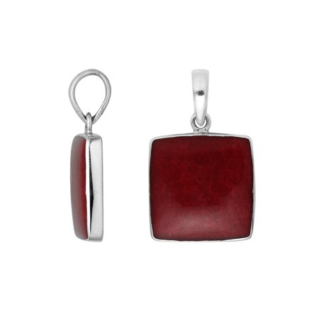 AP-6222-CR Sterling Silver Square Shape Pendant With Coral