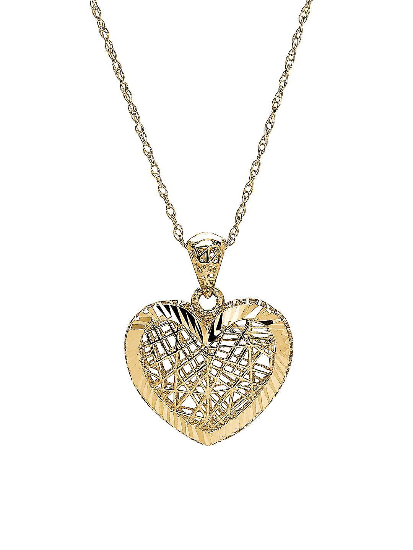 14K Yellow Gold 3D Border Heart Pendant Necklace