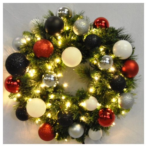 Queens of Christmas Pre-Lit Sequoia Wreath Decorated with...
