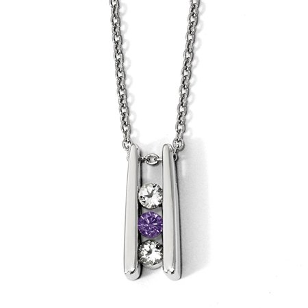 White Sterling Silver necklace Cable with pendant Themed Passion Topaz Round Purple 16 in 1.5 mm