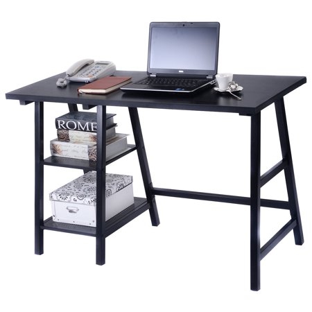 Costway modern trestle desk laptop writing table shelves computer desk black - Computer table in walmart ...