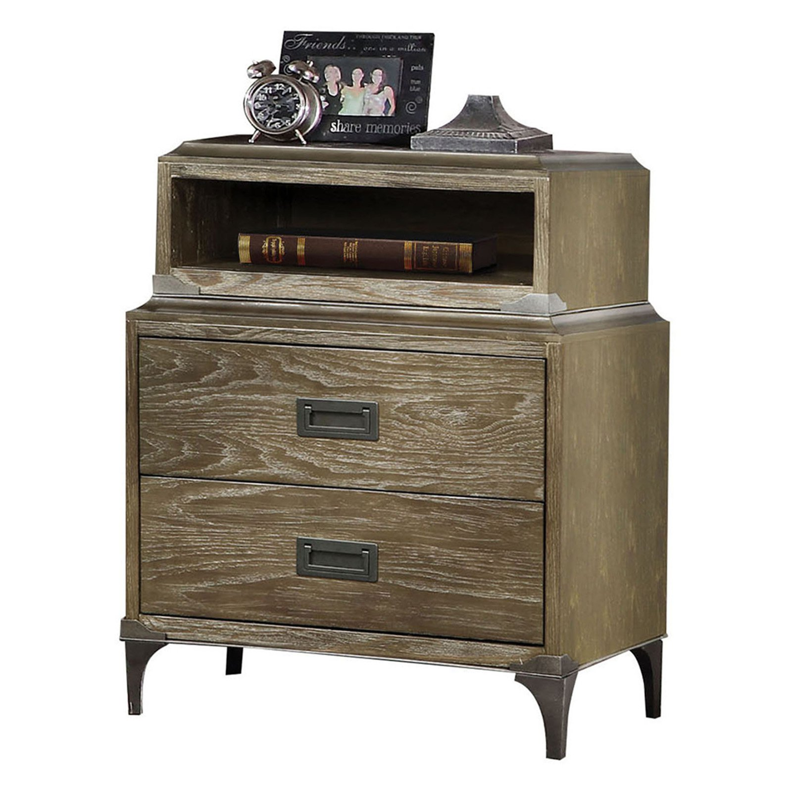 Acme Furniture Athouman Weathered Oak Nightstand with USB Power Dock