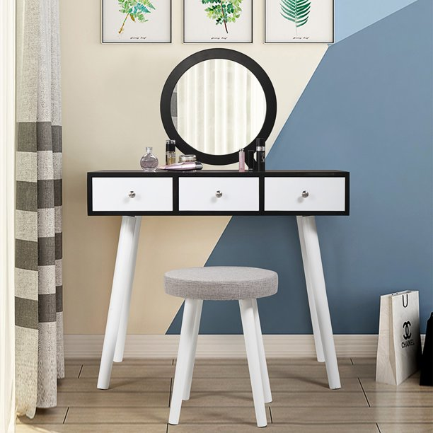Jaxpety Dressing Table Makeup Vanity Jewelry Organizer Desk with Round Mirror 3 Sliding Drawers Black&White