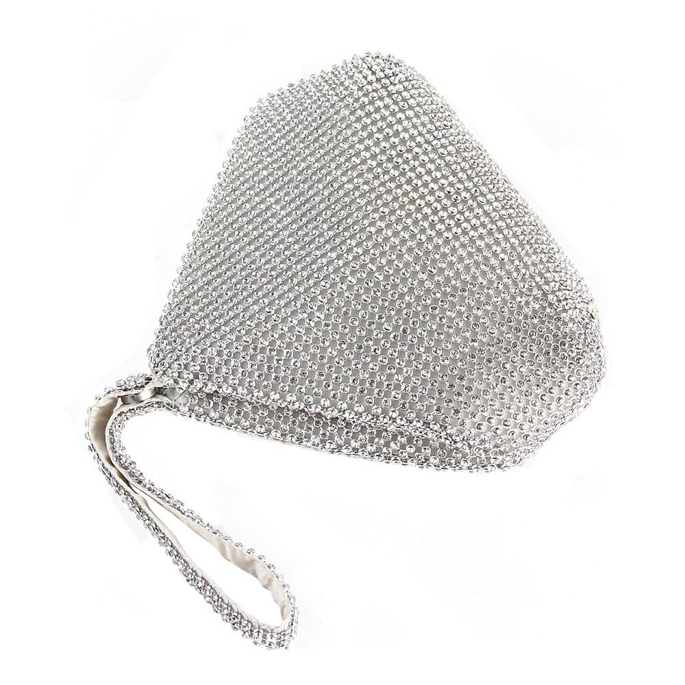 Large Size Triangle Full Rhinestones Womens Evening Clutch Bag Wedding Purse