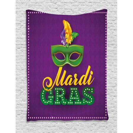 Mardi Gras Tapestry, Green Mask with Colorful Feathers on Purple Backdrop Styled Calligraphy, Wall Hanging for Bedroom Living Room Dorm Decor, Purple Green Yellow, by Ambesonne (Mardi Gras Backdrop)