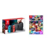 Nintendo Switch Gaming Console Neon Blue and Neon Red Joy-Con Bundle with Mario Kart Deluxe 8
