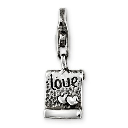 925 Sterling Silver Charm For Bracelet Love Note Click On Bead Click-on Fine Jewelry Gifts For Women For Her - image 6 of 8