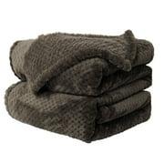 "Piccocasa Soft Warm Fleece Bed Blanket Mesh Flannel Blankets Queen Coffee Color 78"" x 90"""