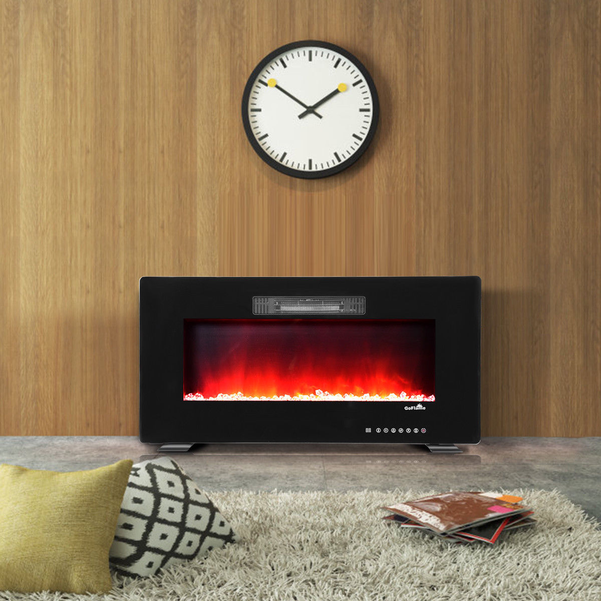 GoFlame 36'' Recessed Electric Fireplace, In-wall& Wall Mounted & standing Electric Heater, Remote Control,Touch screen