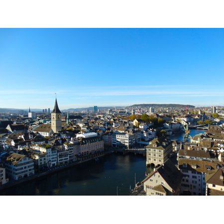 Canvas Print Town Center City Aerial View Zurich Stretched Canvas 10 x - Party City Town Center