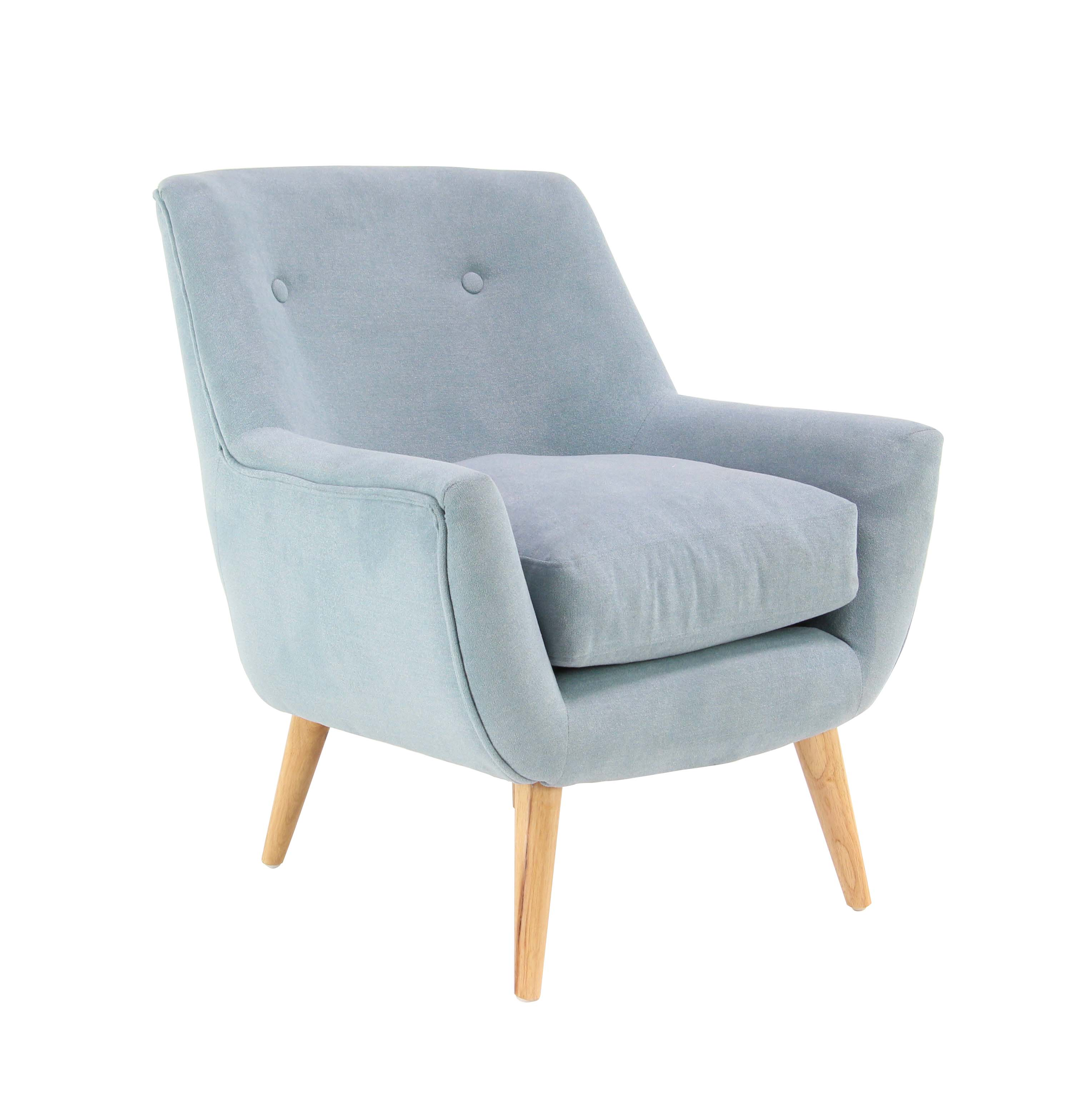 Decmode Modern Wood and Fabric Tufted Blue Armchair, Light Blue by DecMode