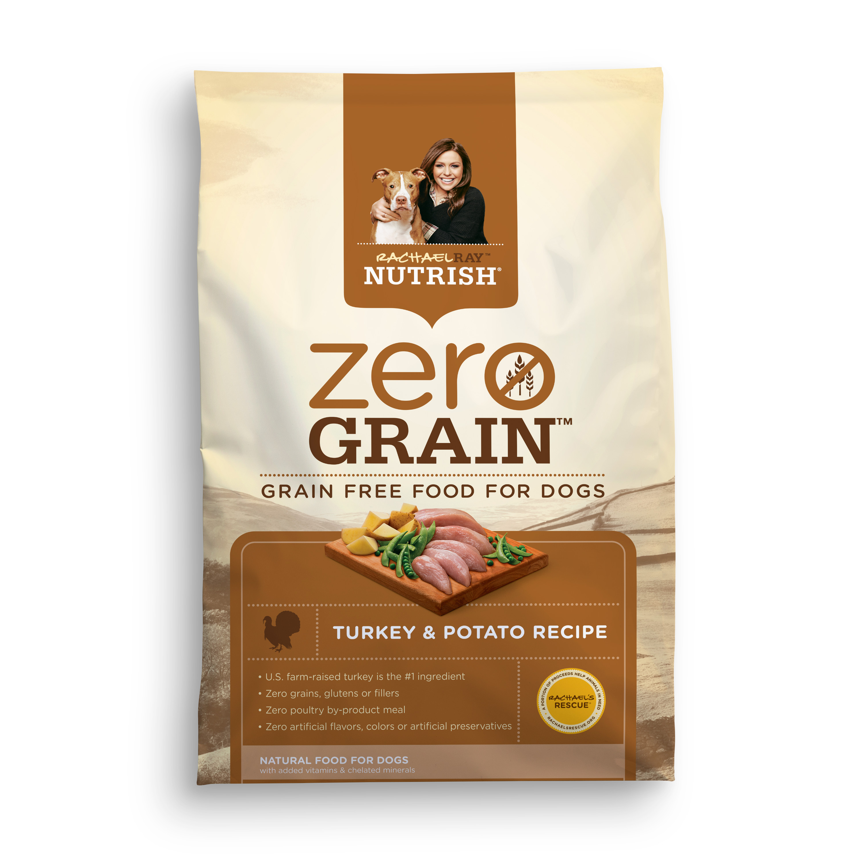 Rachael Ray Nutrish Zero Grain Natural Dry Dog Food, Turkey & Potato Recipe, 14 lbs