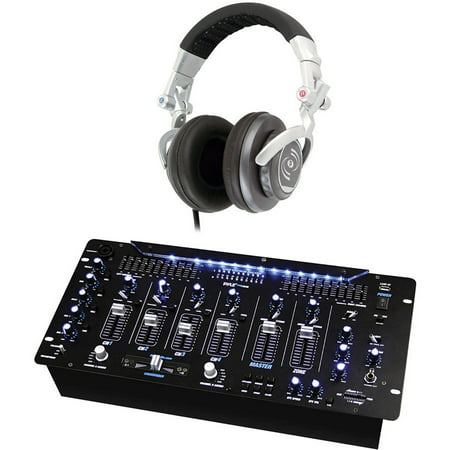 Pyle Pro PYD1964B 6-Channel Bluetooth DJ Mixer with Pyle Pro PHPDJ1 Professional DJ Turbo Headphones