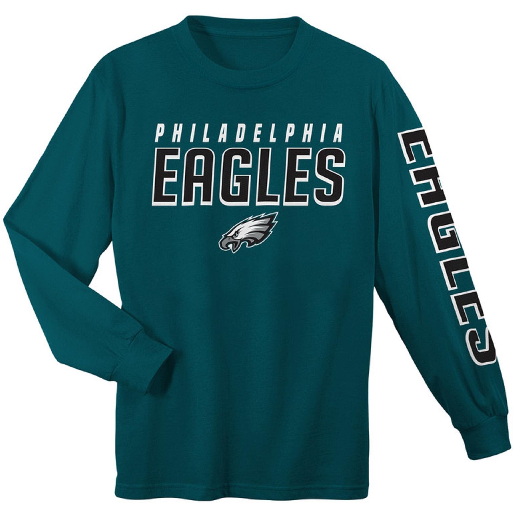Youth Midnight Green Philadelphia Eagles Sleeve Hit Long Sleeve T-Shirt
