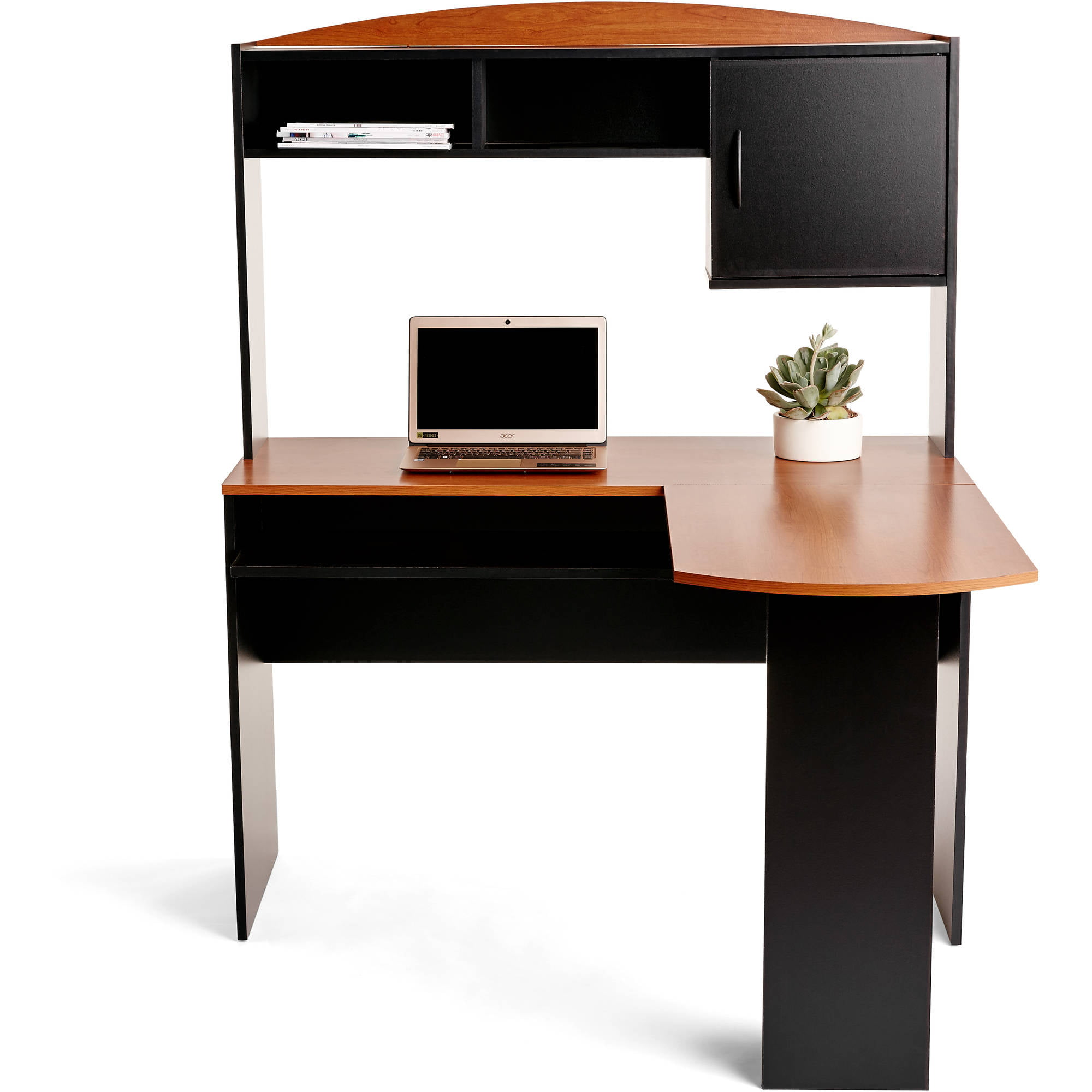 Mainstays LShaped Desk with Hutch Multiple Finishes Black ...